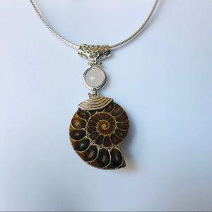 Jewelry - Ammonite Rose Quartz Pendant Slider